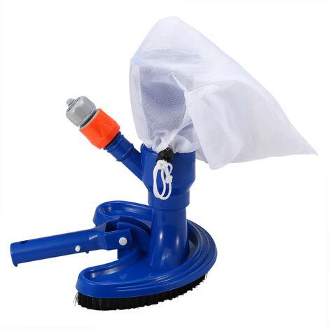 Cabezal de aspiracion para piscina, con bolsa con cordon con asa de clip, cepillo para limpieza de piscinas