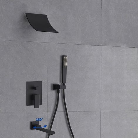 Cabezal de ducha con cascada montada en la pared y sistema de ducha de mano con caño de baño negro sólido