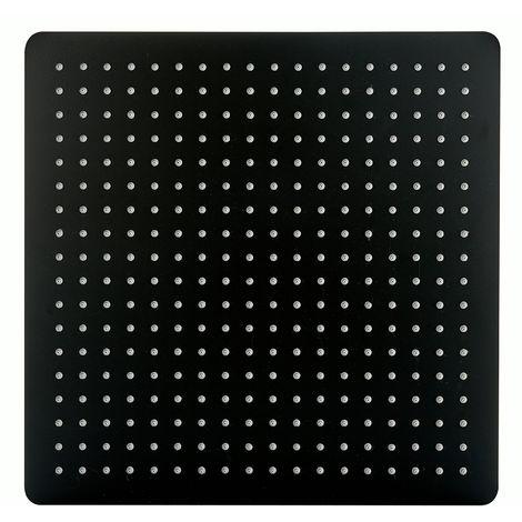 Cabezal de ducha cuadrado, extra-plano de acero inoxidable DPG2001 - 40 x 40 cm - negro mate