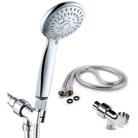 Cabezal de ducha de mano, 5 configuraciones de rociado, con regulador de flujo de agua
