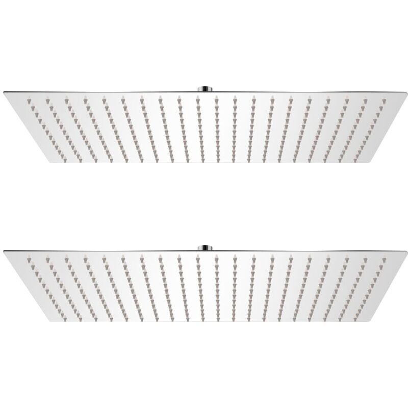 Cabezal de ducha efecto lluvia 2 uds acero inoxidable 30x50 cm - Plateado