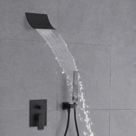 Cabezal de ducha en cascada y sistema de ducha de mano negro sólido