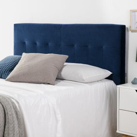 Cabezal tapizado Nápoles 140x100 cm Azul para Cama 135, Terciopelo, Patas de Madera, herrajes incluidos