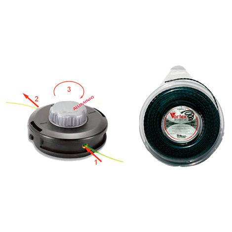 Cabezal universal carga rapida TAP N GO 130mm + 44 Metros Hilo nylon trenzado Vortex 3mm