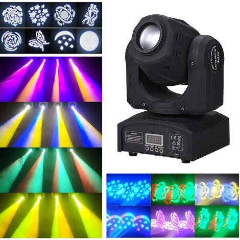 Cabezales de LED de 90W Luz de escenario movil, 9/11 canales, 8 patrones Lampara de escenario que cambia de 14 colores