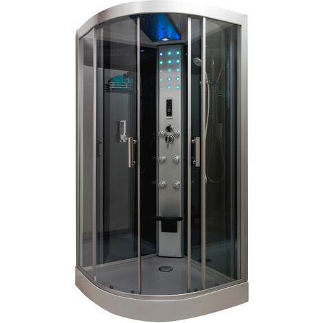 Cabina 1/4 C 100 con hidromasaje/SIN SILICONA SKADI Dimensiones : 90x90x217 cm - Aqua +