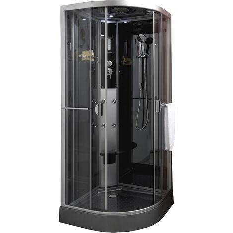 Cabina 1/4 C 90 con hidromasaje/SIN SILICONA NED Dimensiones : 90x90x226 cm - Aqua +