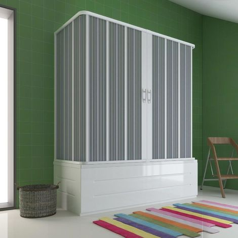 Cabina de Bañera 3 Lados 70x170x70 cm en PVC plegable con Apertura Central H 150 cm color Blanco mod. Flex