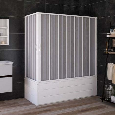 Cabina de Bañera 70x170 cm en PVC plegable con Apertura Central H 150 cm color Blanco mod. Flex