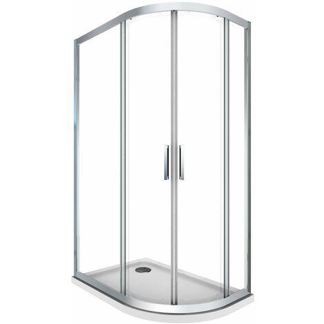 Cabina de ducha 6 mm semicircular angulada con perfil cromado y reversible con plato de ducha incluido
