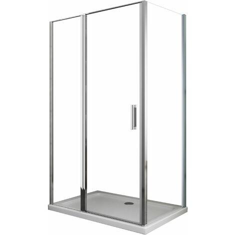 Cabina de ducha angular de 6 mm pared lateral fija y cara frontal compuesta por pared + puerta batiente – 64-67 fija x 137-140 pared + batiente (60+80)