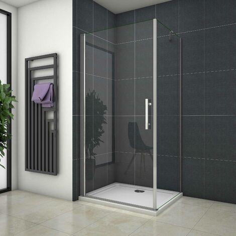 Cabina de Ducha Angular Mampara de ducha Puerta Abatible de Vidrio 5 MM
