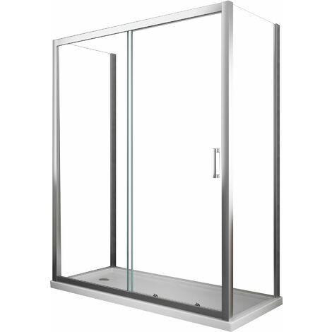 Cabina de ducha compuesta por tres lados de 6 mm H.190 con dos paredes fijas y una puerta corredera
