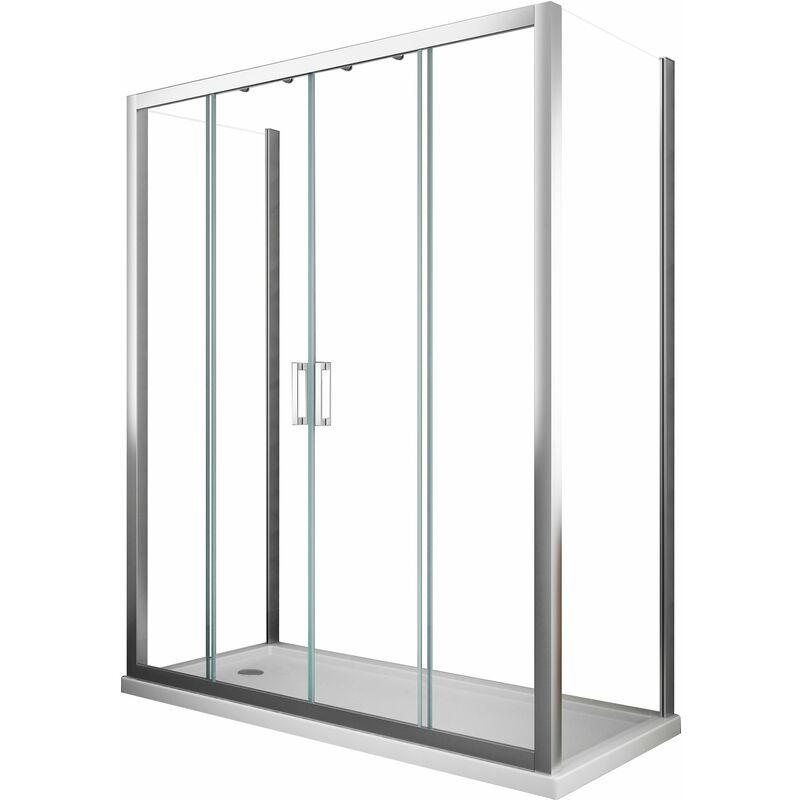 Cabina de ducha de 6 mm con 2 paredes fijas y cuatro puertas con apertura central - 77,5-80 fija x 138-143 abertura central