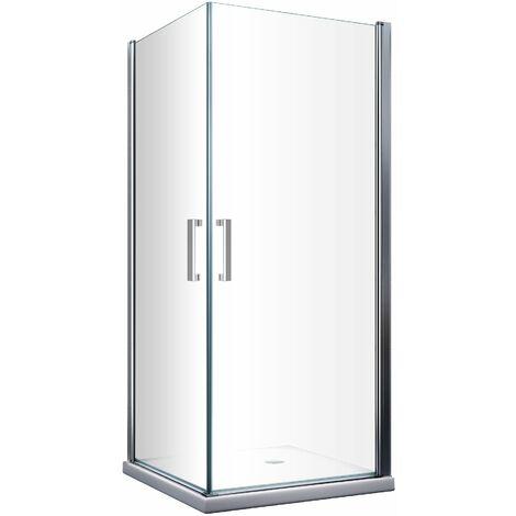 Cabina de ducha de 8 mm compuesta por doble puerta batiente angular reversible H. 200 - 65 x 65 cm