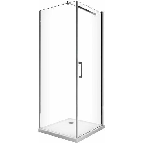 Cabina de ducha de 8 mm con puerta batiente y pared lateral fija H.200
