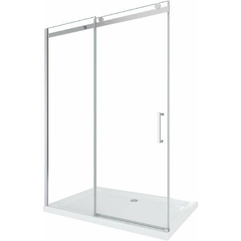 Cabina de ducha de 8 mm para instalacion en un nicho H.190 con apertura deslizante y reversible