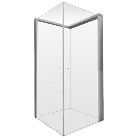 Cabina de ducha Duravit Open Space rectangular, 900x800mm, montaje a la derecha, cabinas de ducha: Vidrio transparente y espejo (en el lado de la válvula) - 770004000110000