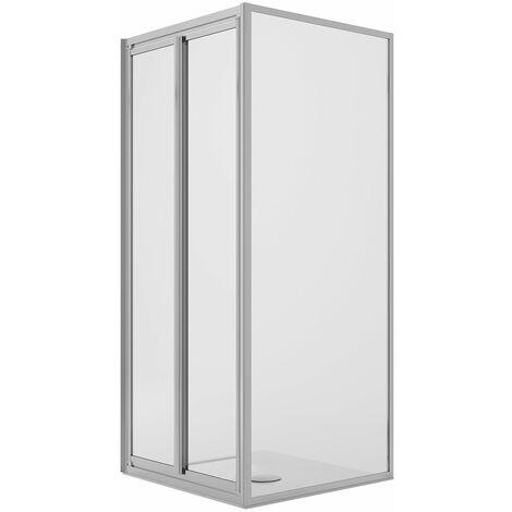 Cabina de ducha en ángulo 75x75CM H185 Cristal Transparente Fijo+Saloon 2 Puertas batientes 75 mod. Clint