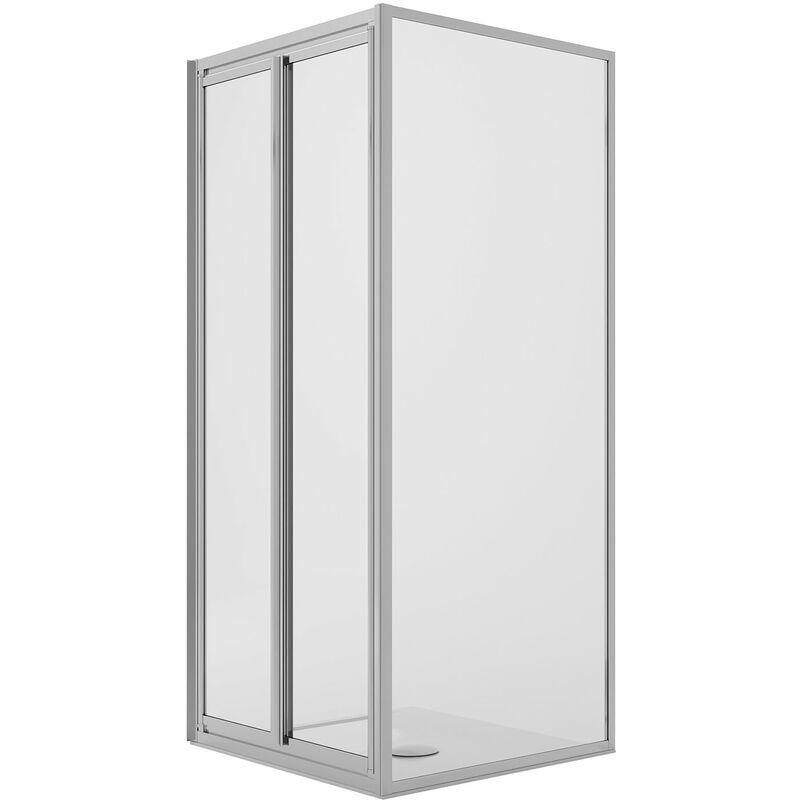 Cabina de ducha en ángulo 80x90CM H198 Cristal Transparente Fijo+Saloon 2 Puertas Batientes 90 mod. West - IDRALITE