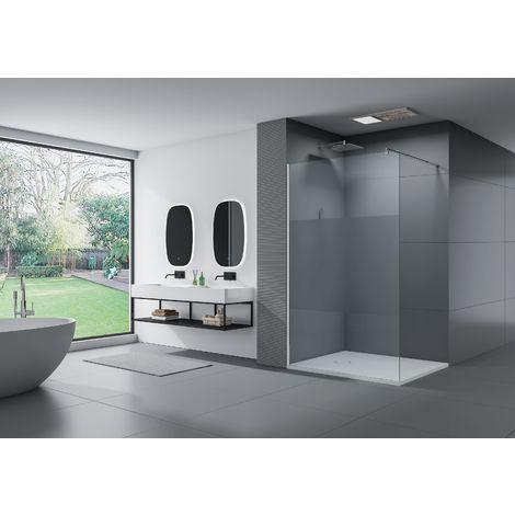 Cabina de ducha fija lateral de vidrio de seguridad de 10 mm, satinado parcial, EX101, medida a elegir