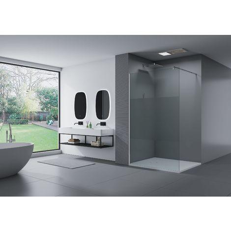 Cabina de ducha fija lateral de vidrio de seguridad de 8 mm, satinado parcial, EX101, medida a elegir
