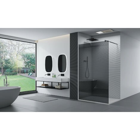 Cabina de ducha fijo lateral de vidrio, ahumado, EX101, medida a elegir