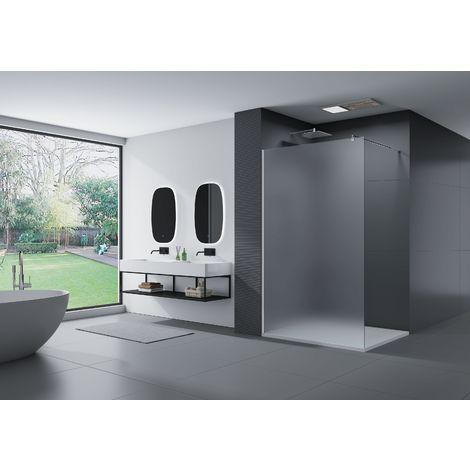 Cabina de ducha fijo lateral de vidrio, satinado, EX101, medida a elegir