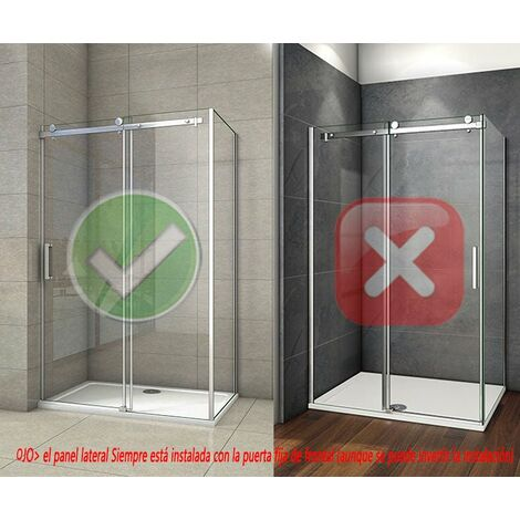 Cabina de ducha, fontal + panel lateral, mampara de 8 mm con tratamiento antical cristal templado