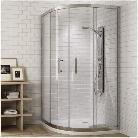 Cabina de ducha. Mampara Semicircular 2 paneles fijos + 2 Puertas correderas