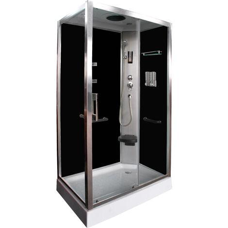 Cabina de ducha negra DP-8001R (120 x 80 x 210 cm)