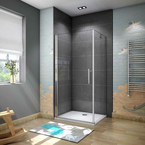 Cabina de Ducha Puerta Abatible 185 CM Panel con Barra de 45 CM, Cristal Transparente 6 MM Antical Easy-Clean 90x76x185cm