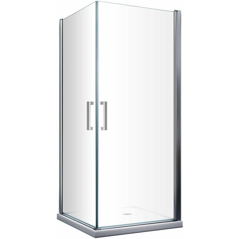 Cabina de ducha de 8 mm compuesta por doble puerta batiente angular reversible H. 200 - 70 x 90 cm