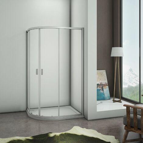 Mamparas de ducha Semicircular Puerta Corredera Gris Mate 5mm 100x80x185cm