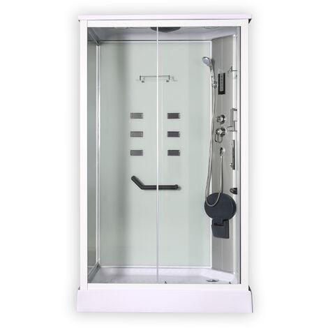 Cabina rectangular de ducha modelo DP-1280 color blanco