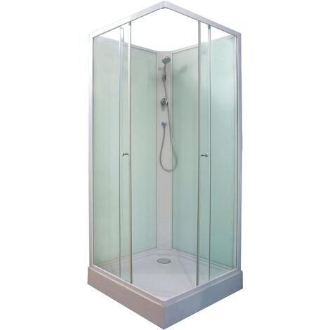 Cabina sin hidromasaje MINEA 80 con el fondo verde agua Dimensiones : 80x80x207,5 cm
