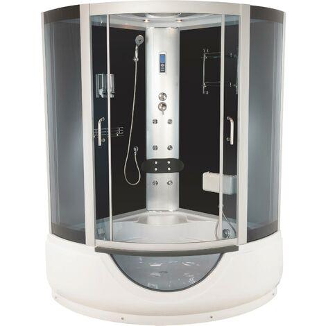 Cabine bain hydromassante FARO - Avec silicone - 1/4C 135cm - Gris - En kit