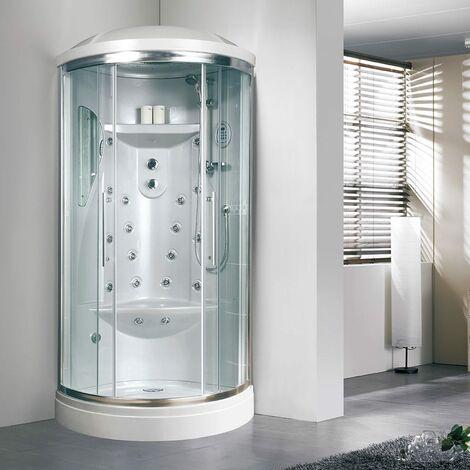 CABINE BOX DE DOUCHE SEMI-CIRCULAIRE 90 CM AVEC HYDROMASSAGE IRIDE
