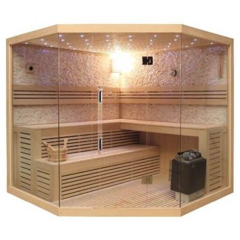 Cabine complète de Sauna d'angle Lutèce full options Luxe 200x200x210 cm