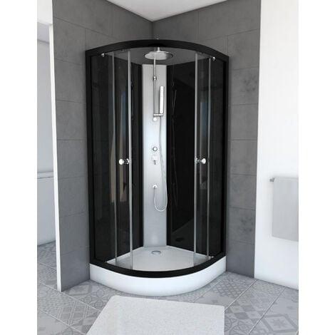 cabine de douche 1 4 de cercle 85x85x225cm nebula cab117. Black Bedroom Furniture Sets. Home Design Ideas