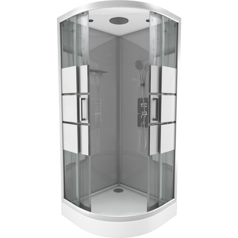 cabine de douche 1 4 de cercle 90x90x215cm avec bande. Black Bedroom Furniture Sets. Home Design Ideas
