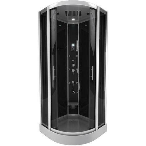 cabine de douche 1 4 de cercle 95x95x215cm avec hammam. Black Bedroom Furniture Sets. Home Design Ideas