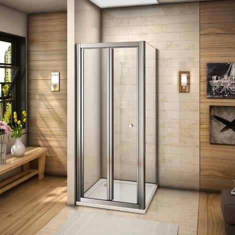 Cabine de douche 185cm porte de douche pliante en verre securit