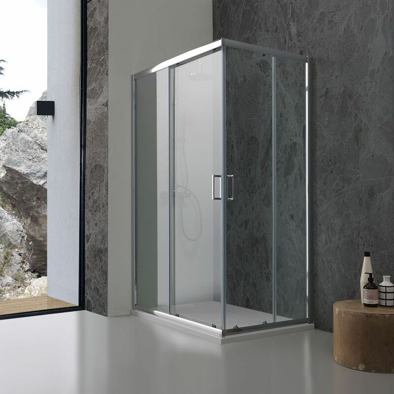 cabine de douche 70 x 100 cm en verre transparent giada. Black Bedroom Furniture Sets. Home Design Ideas