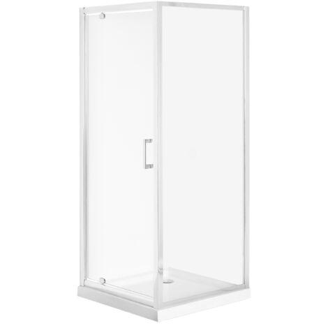 Cabine de douche 80 x 80 x 185 cm argentée DARLI