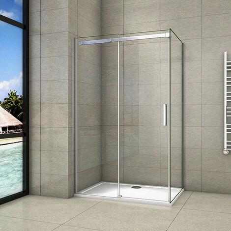 Cabine de douche 8mm en verre anticalcaire AICA porte de douche coulissante plus une paroi de douche latérale