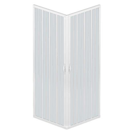 Cabine de douche à soufflet Liberte' 70x90 CM d'angle réductible couleur blanc pastel