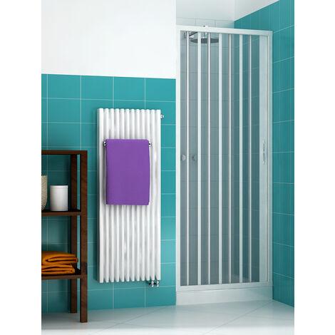 Cabine de douche à soufflet Liberté dim. 120 cm x H 185 cm en PVC, avec porte simple et ouverture latérale