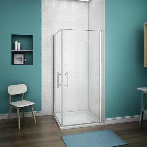 Cabine de douche accès d'angle porte pivotante verre anticalcaire