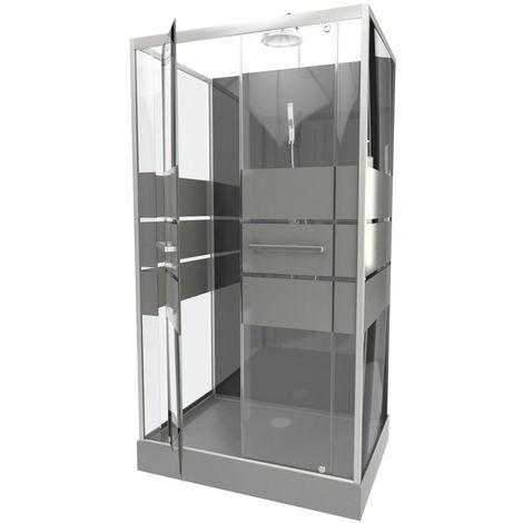 Cabine de douche avec portes sérigraphiées Gris